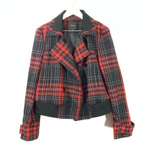 Express Red Black Plaid Wool Moto Jacket Coat